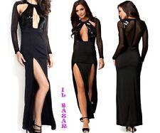 vestido de mujer traje noche largo sexy dividir lentejuelas/inserciones tul