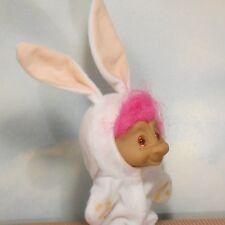 """Ace 4.5"""" flannel bunny suit Treasure Troll TROLL DOLL: lucky wishstone/ears/tail"""