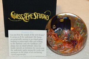 CARIBBEAN REEF Environmental Paperweight by Glass Eye Studio, Made USA~2505PWES