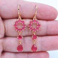 18K Yellow Gold Filled Women Pink Topaz Gems Love Wedding Earrings Jewelry