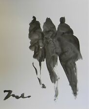 JOSE TRUJILLO - NEW Black INK WASH on Paper Collectible 14x17 Minimalist Figures