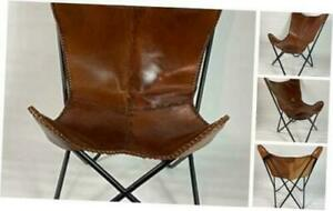 Chocolate Rich Dark Brow Leather Cover Butterfly Modern Chair - Genuine Leather