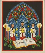 VINTAGE CHRISTMAS ALTAR CHOIR BOYS SINGING CANDLES CHURCH WINDOW CARD ART PRINT