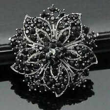 Black Flower BROOCH Pin Broach Crystal Diamante Rhinestone Corsage