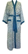 Anokhi Blue & White Robe/Dressing Gown, 100% Cotton, Ankle Length