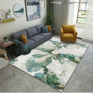 Modern Carpets Green Leaf Printed Area Rugs Bedroom Carpet Non-slip Washable Rug