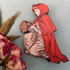 Red riding hood brooch Laser cut wooden badge, Fairytale jewellery Lapel pin