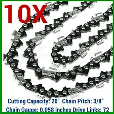 "10X CHAINSAW CHAINS SEMI 3/8 058 72DL FOR HUSQVARNA 20"" BAR 365 372 455 460 3120"