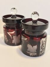 Pair Of Bohemian Art Deco 1910's Cut To Clear Glass Hand Made Ruby Red Salt