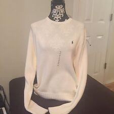 NWT Ralph Lauren Polo Sweater White Cream  100% Cotton Womens Medium