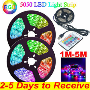 RGB LED Strip Lights TV Back Cabinet Dimmable Kitchen Home Lamp + Remote Control