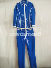 2018 NEW 100% Latex Rubber Women Leisure navy blue Jacket and Pants Suit  S-XXL