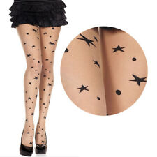 Sheer Beige Nude Pantyhose Multi Stars Polka Dot Faux Tattoo Cosplay Tights OS