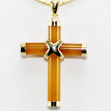 Yellow Jade Topaz Gold plated Cross Pendant With Necklace