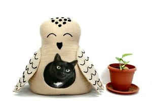 Handmade Felted Modern Cat Cave - Cozy Cat House - Wool Pet Bed- Cat Lover Gifts