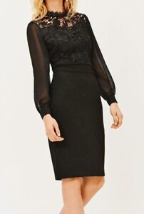 COAST BLACK LACE BODICE CHIFFON PENCIL BODYCON MIDI DRESS 14 BNWT £119 WASHABLE