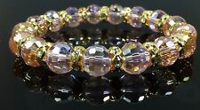 Beautiful Sparkly Pink Crystal Beads & Gold Crystal Rings Bracelet