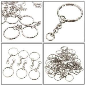 10pcs Silver Keyring Blanks Tone Key Chains Key Split Rings 4 Link Chain