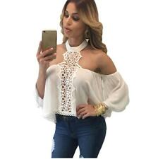 Fashion Women Sexy Off Shoulder Lace Top T Shirt Casual Long Sleeve Blouse Tops