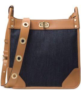 New Michael Kors Sullivan Large Leather navy Denim Messenger bag leather trim