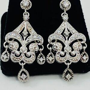 Diamonique Chandelier Dangle Earrings Sterling Silver Cubic Zirconia Pierced