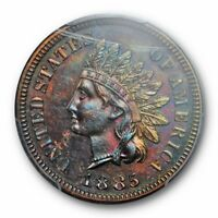 1885 1C Indian Head Cent PCGS PR 64 BN Proof Blue Green Toning Toned Cert9156