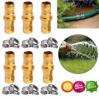 """6pc 3/4 5/8"""" SOLID BRASS Garden Hose Repair Mender Kit with Stainless Clamp"""