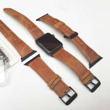 Orange Leather Watch Strap Band for Apple Watch 42mm Black Fixs Series 1 2 & 3