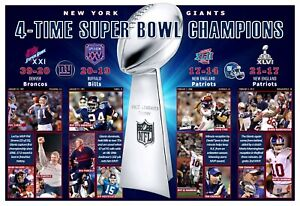 """4-TIME SUPER BOWL CHAMPIONS NEW YORK GIANTS 19""""x13"""" COMMEMORATIVE POSTER"""