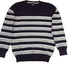 New Mens Firetrap Stripe Knit Crew Neck Jumper Sweater Peacoat /Grey Marl Size S