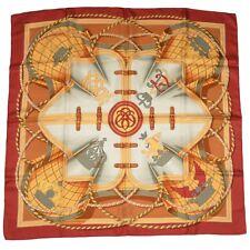Hermès Paris Tuch Scarf Grande Tenue Henri d'Origny Made in France Seide Rot Red