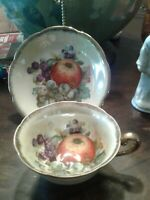 Napco China Hand Painted Teacup and Saucer with Fruit. ~ EUC ~ PERFECT