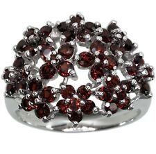 Garnet Gemstone Flower Cluster Sterling Silver Ring size N
