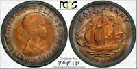 1960 GREAT BRITAIN HALF PENNY PCGS MS64RB CIRCLE COLOR TONED HIGH GRADED COIN