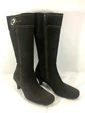 La Canadienne Calf High Boots Choc Brown Suede Leather Zip Button Sz 10 M