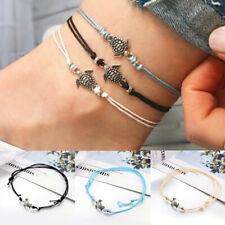 Leather Women Foot Beach Jewelry 3Pcs/Set Retro Turtle Pendant Anklet Bracelet