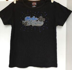 Women's Harley Davidson T Shirt Size S/M Black Blue Rhinestones Las Vegas