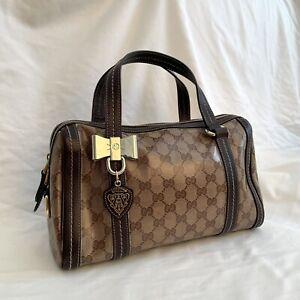 Gucci Monogram PVC Leather Handbag Rare Authentic Vintage