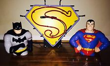 Superman Promotional Neon Display Sign Superman & Batman Cookie Collector Jars