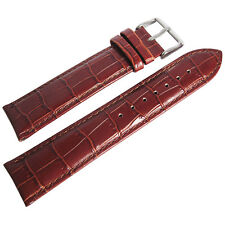 19mm deBeer Mens Long Havana Brown Crocodile-Grain Leather Watch Band Strap