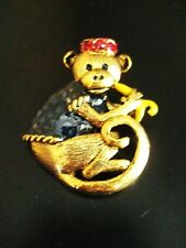 NEW MONKEY PIN BROOCH GOLD ABU EGYPTIAN MIDDLE EASTERN BANANA RED HAT CURLY TAIL
