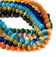 50Pcs Mixed Acrylic Round Cats Eye Crafts Loose Beads Jewelry Making DIY 8mm