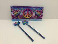 Lisa Frank Pencil Case Plastic Zippered Rainbow Peace Hearts + 2 Pencils Vintage