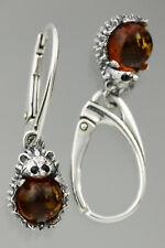 Genuine BALTIC AMBER Dangling Silver HEDGEHOG Earrings 3.8g 191112-1