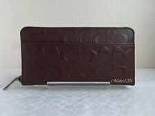 Coach NWT F75372 Signature Crossgrain Leather Accordion Wallet Mahogany