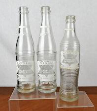 Lot of Three Vintage 10 oz Crystal Sparkling Beverages Bottles Marietta Oh