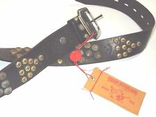 True Religion mens studded Black Leather Belt size 40  retail $168 style TRB4354