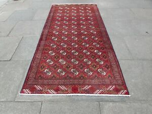 Vintage Hand Made Traditional Rug Oriental Wool Red Long Rug 255x125cm