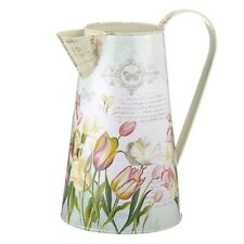 Large Shabby Metal Jug Vintage Style Pink Cream Tulips Butterflies 26cm Seconds