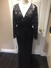 New Mascara Pour la femme Black Evening Ballgown Peplum Waist Fishtail Size 16